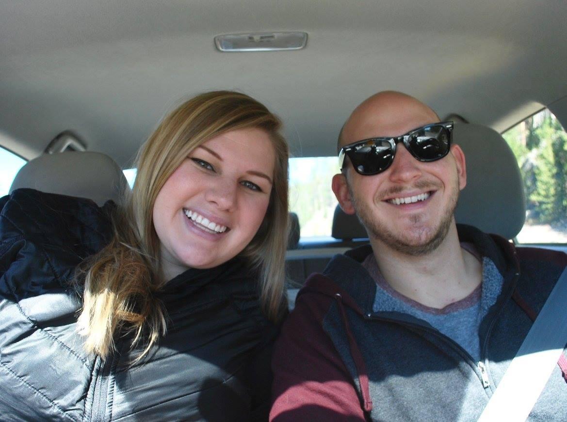 Driving through Yellowstone in a sedan