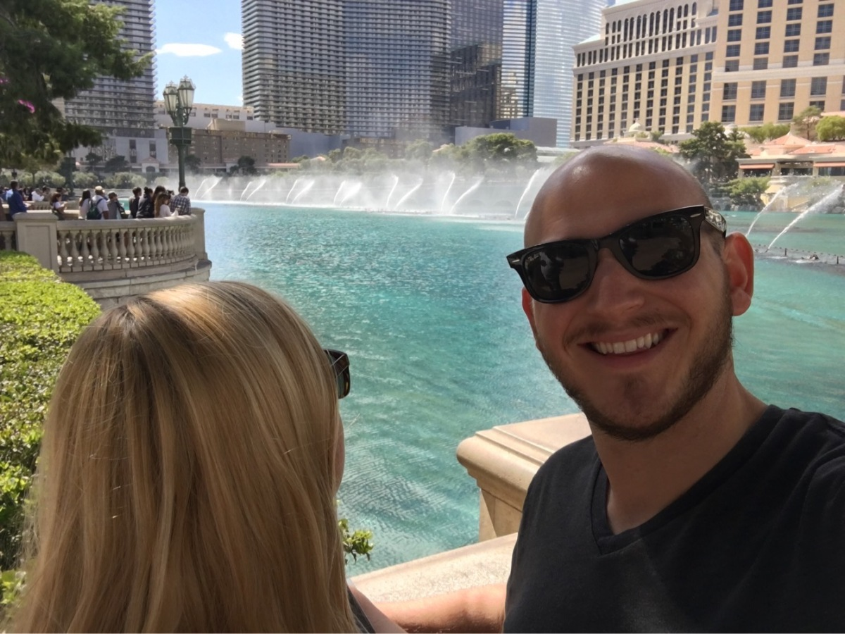 The Bellagio Fountain goes off every half an hour on the hour